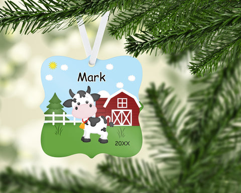 Personalized Cow Christmas Ornament