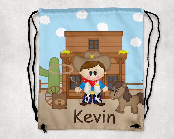 Cowboy Personalized Drawstring Bag