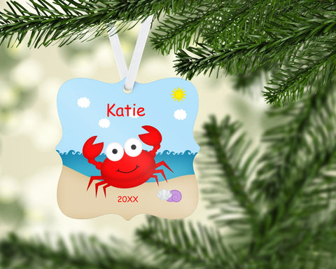 Persoalized Crab Christmas Ornament