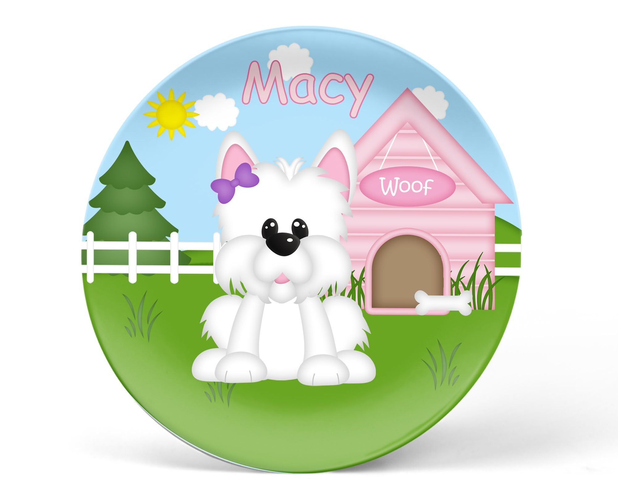 Dog House Pink Kids Plate