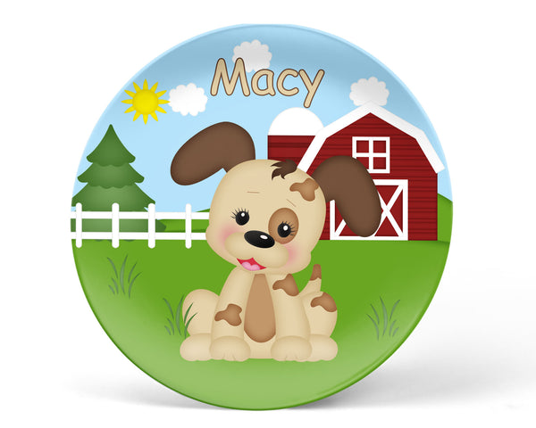 On the Farm Dog Kids Plate