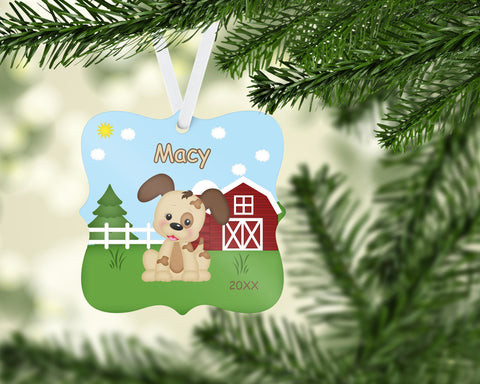 Personalized Puppy Dog Christmas Ornament