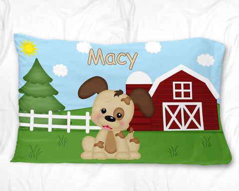 On the Farm Dog Pillow Case