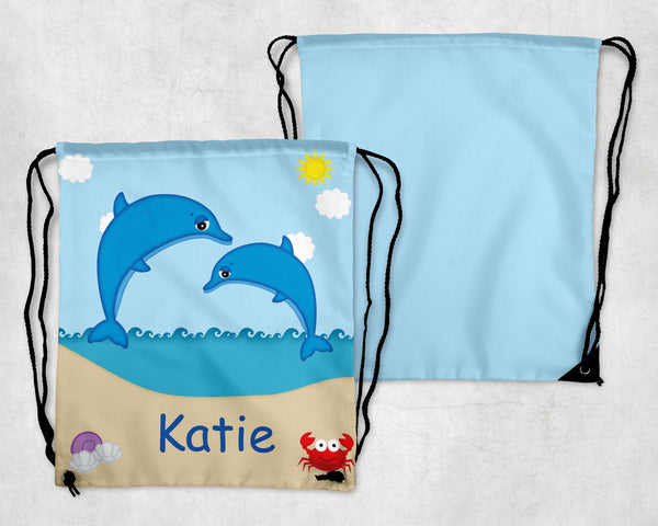 Diving Dolphins Personalized Drawstring Bag