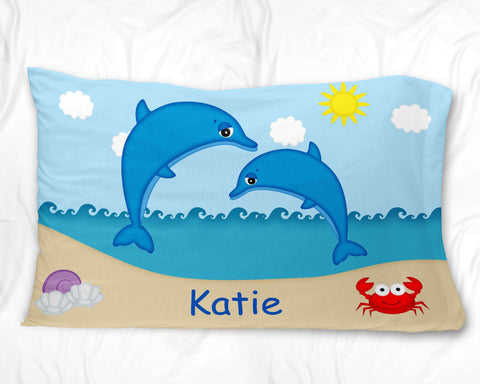 Diving Dolphins Pillow Case