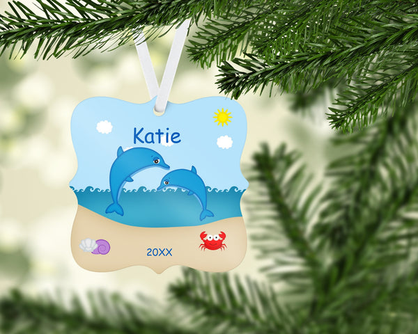 Personalized Dolphins Christmas Ornament