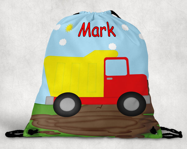 Dump Truck Personalized Drawstring Bag