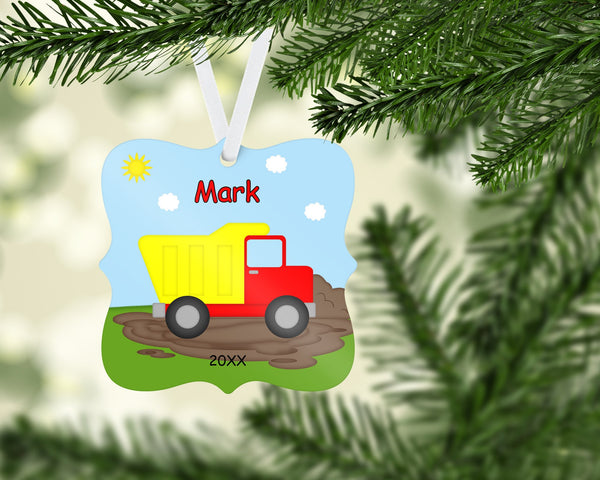 Dump Truck Christmas Prague Ornament