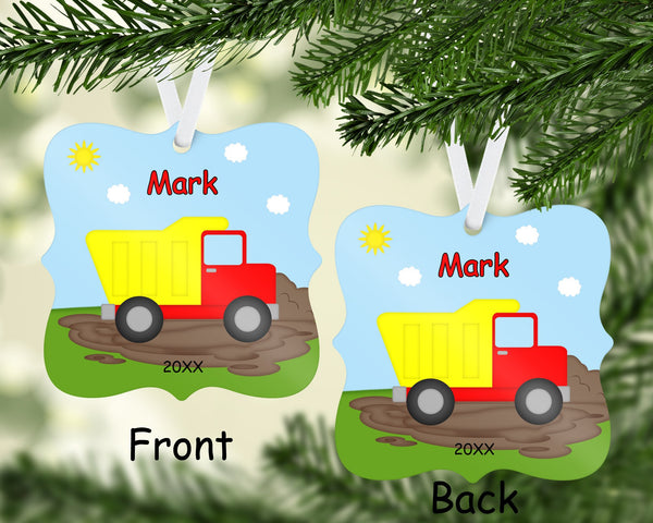 Construction Dump Truck Christmas Ornament