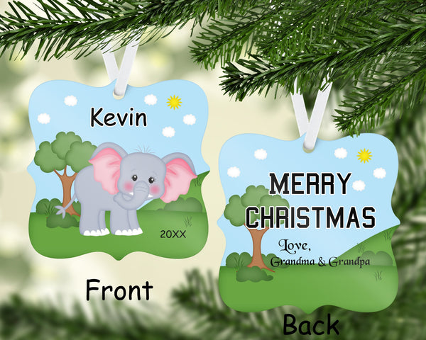 Jungle Elephant Christmas Ornament