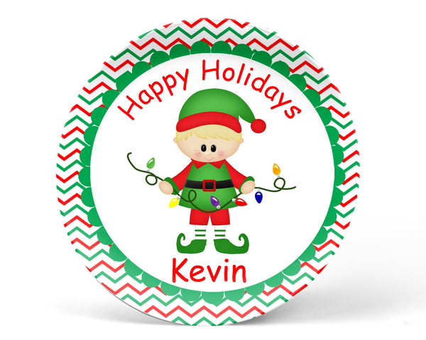 Christmas Elf Boy Kids Plate