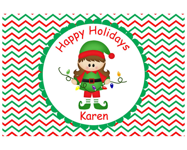 Christmas Elf Girl Kids Placemat