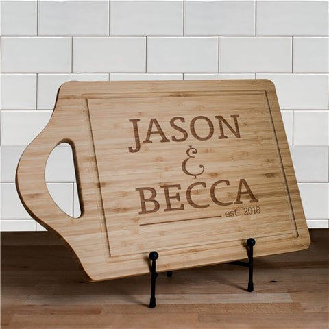 Engraved Bride and Groom Cutting Board