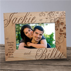 Engraved Couple's Hearts Wood Frame
