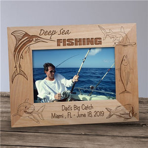 Engraved Deep Sea Fishing Wood Picture Frame