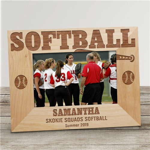 Engraved Softball Wood Picture Frame