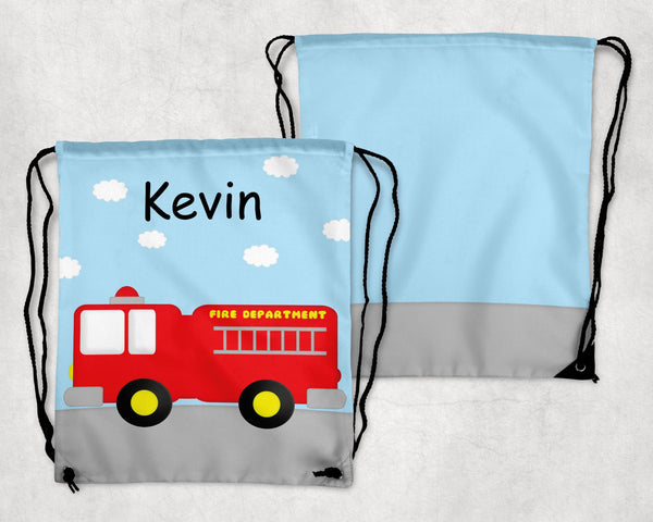 Fire Truck Personalized Drawstring Bag