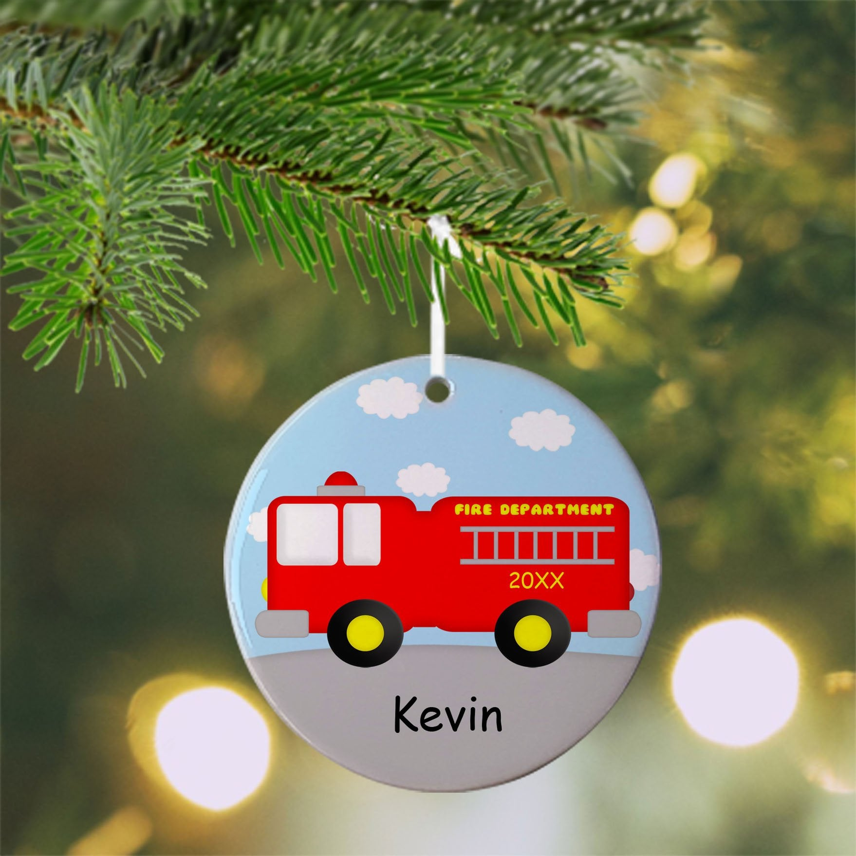Fire Truck Christmas Ornament