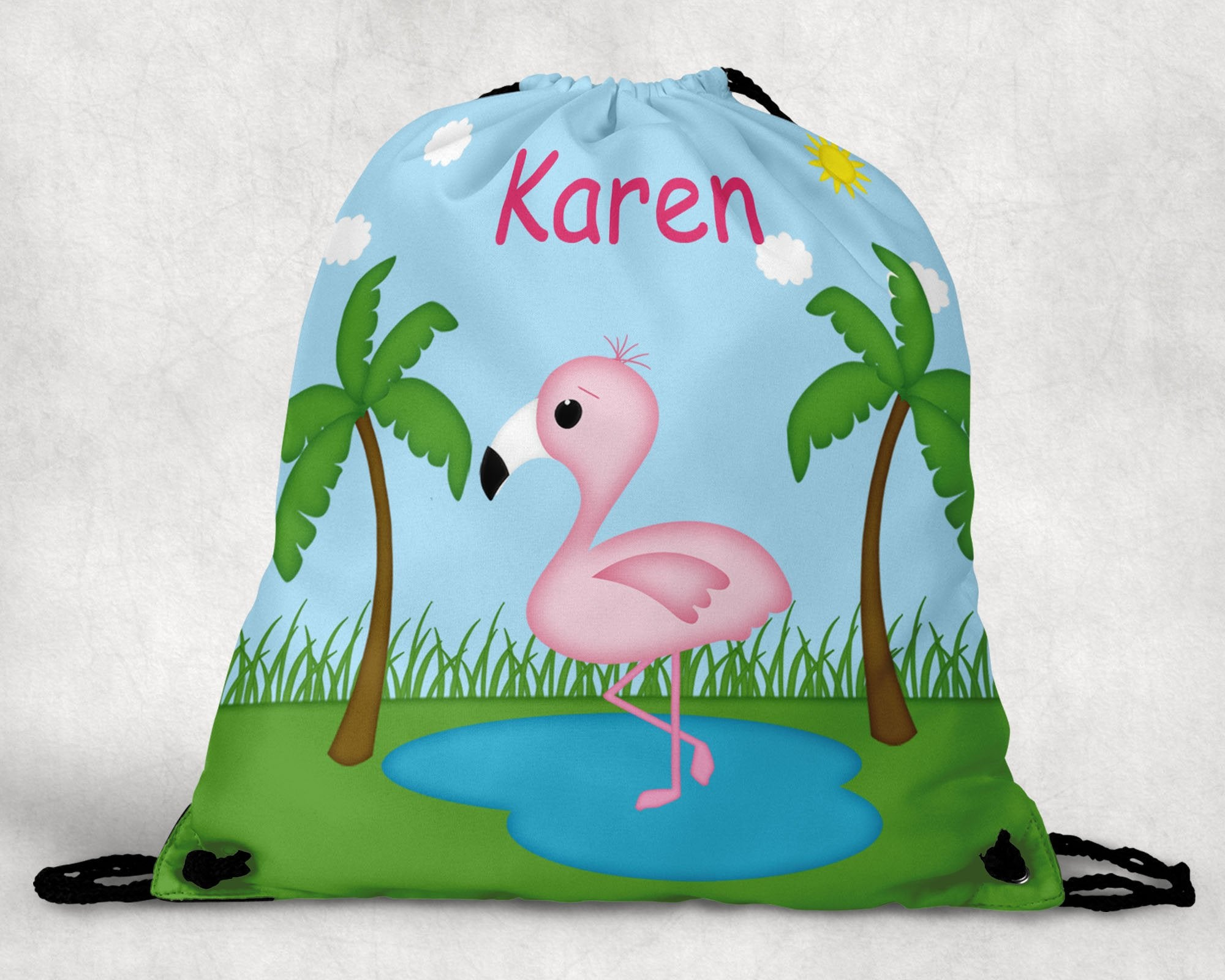 Flamingo Personalized Drawstring Bag
