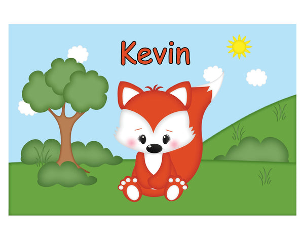 Cute Woodland Fox Kids Placemat
