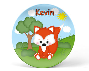 Cute Woodland Fox Kids Plate