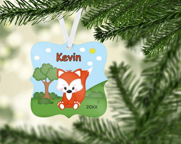 Personalized Woodland Fox Christmas Ornament