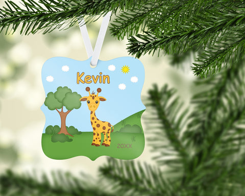 In the Jungle Giraffe Personalized Christmas Ornament
