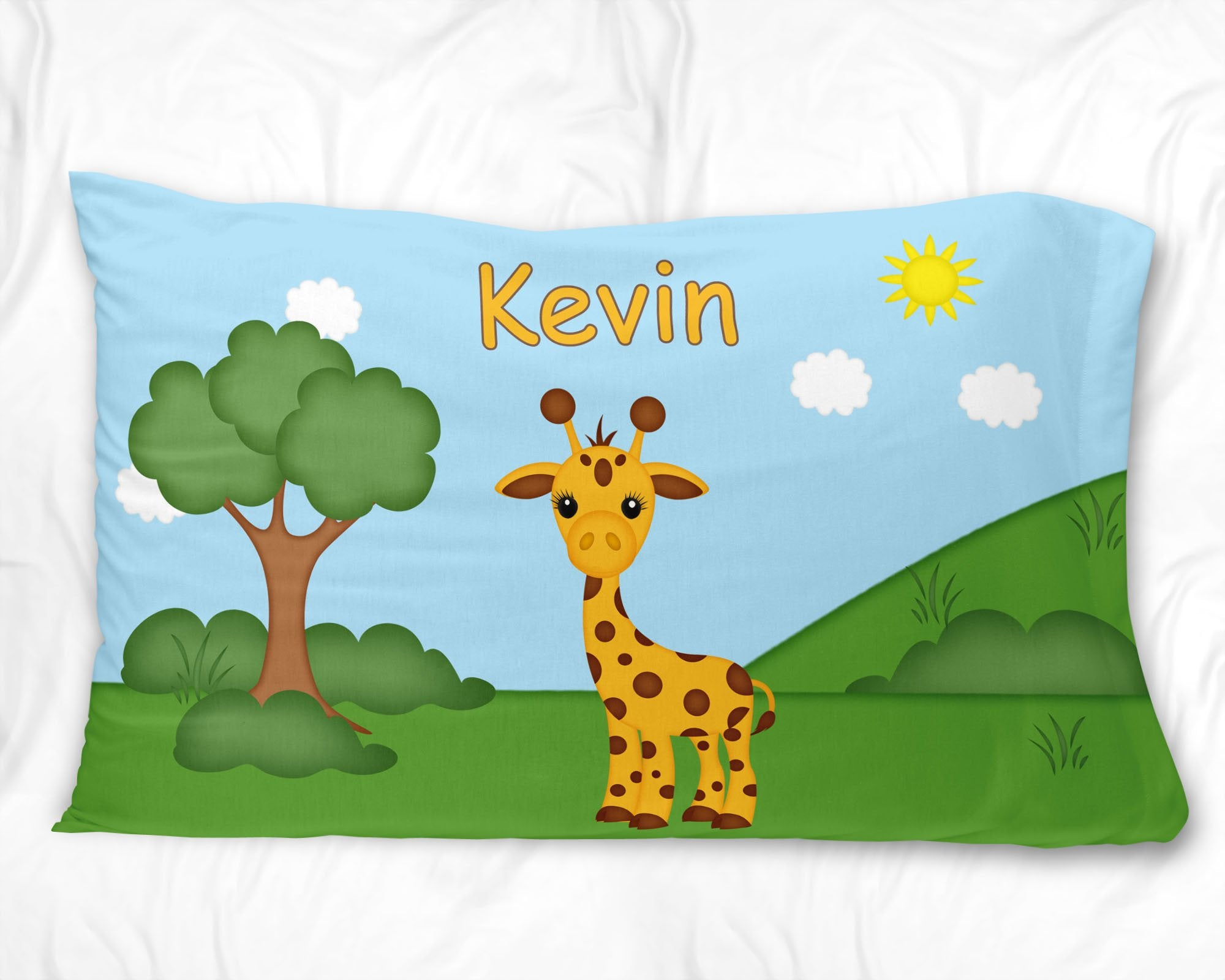At the Zoo Giraffe Pillow Case