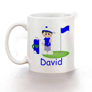 Golfer Boy Kids Mug