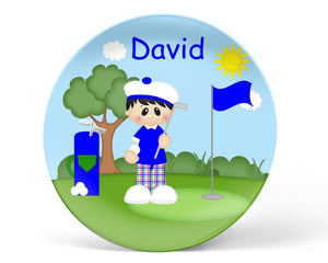 Golfer Boy Kids Plate