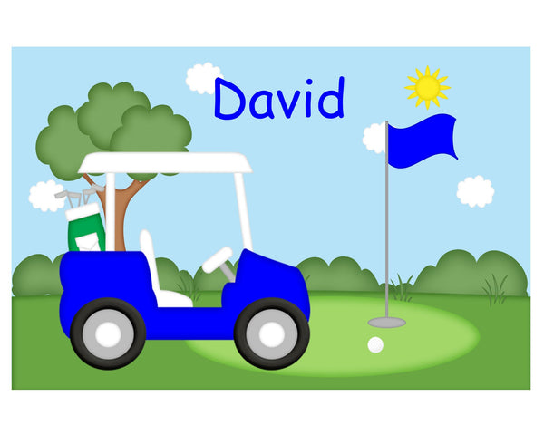 Golf Cart Blue Kids Placemat