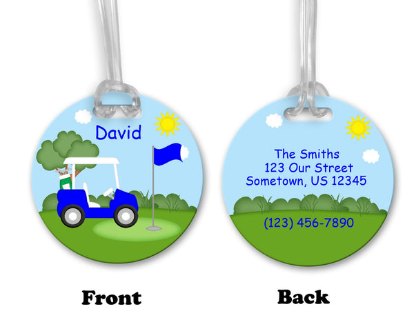 Golf Cart Blue Bag Tag