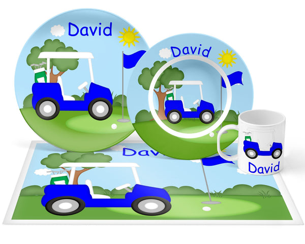 Golf Cart Blue Kids Plate