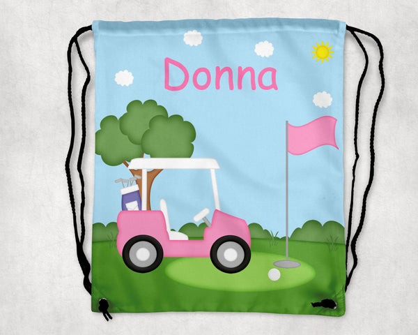 Golf Cart Pink Drawstring Bag