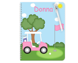Golf Cart Pink Kids Notebook