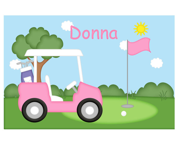 Golf Cart Pink Kids Placemat