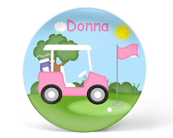 Golf Cart Pink Kids Plate