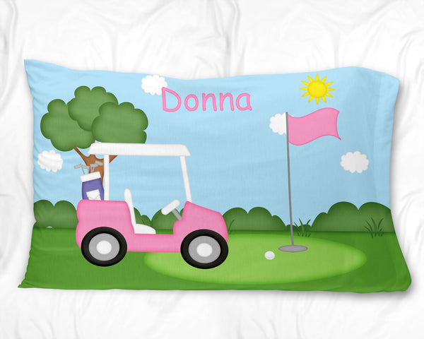 Golf Cart Pink Pillow Case