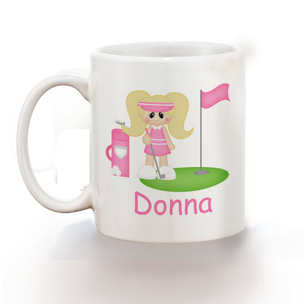 Golfer Girl Kids Mug