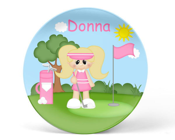 Golfer Girl Kids Plate