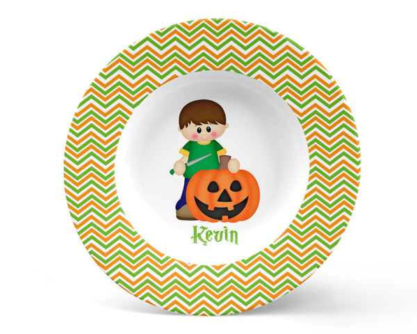 Halloween Pumpkin Carving Boy Bowl