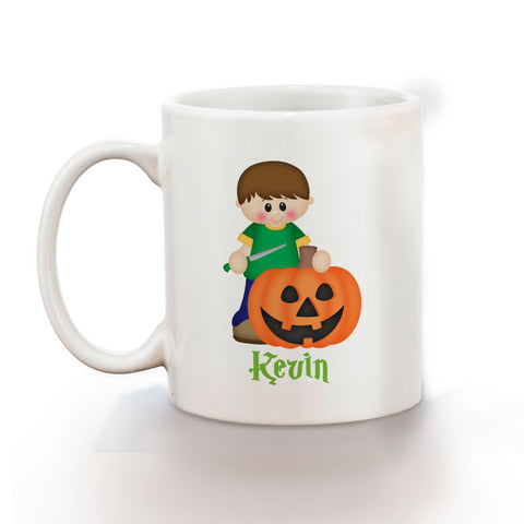 Halloween Pumpkin Carving Boy Mug