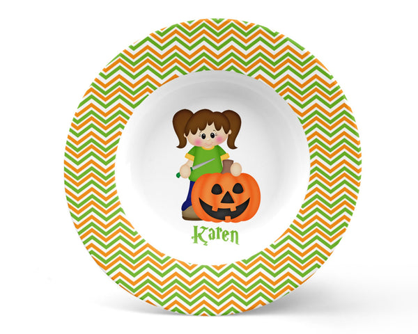 Halloween Pumpkin Carving Girl Bowl