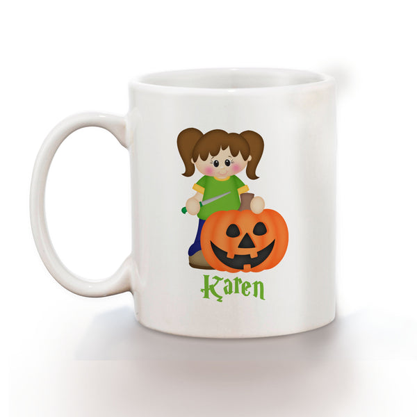 Halloween Pumpkin Carving Girl Mug