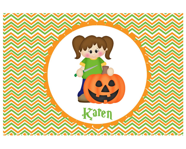 Halloween Pumpkin Carving Girl Placemat