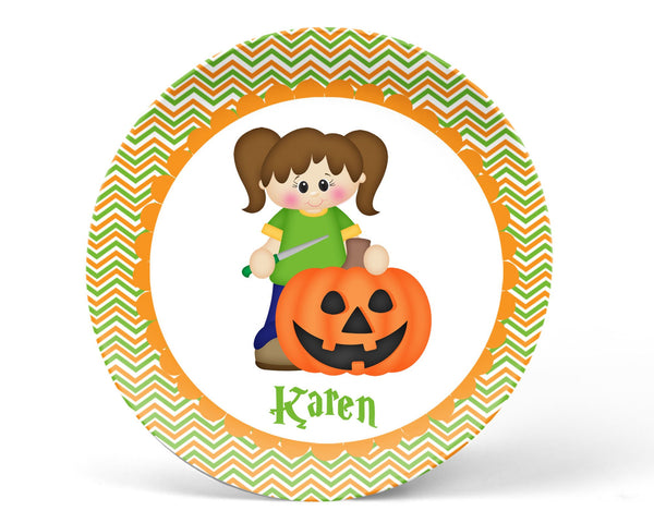 Halloween Pumpkin Carving Girl Plate