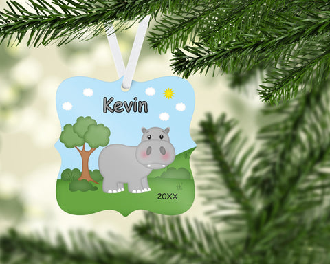 In the Jungle Zoo Hippo Personalized Christmas Ornament