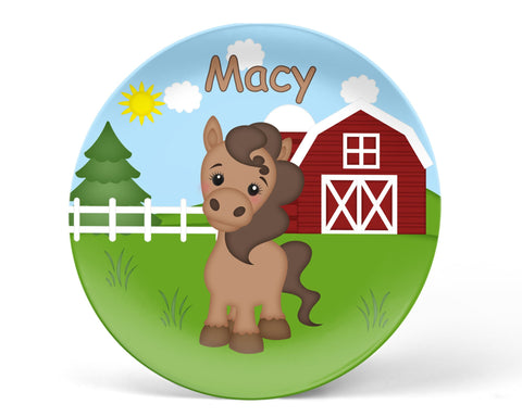 On the Farm Horse Kids Plate