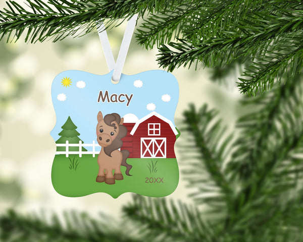 Love My Horse Personalized Christmas Ornament