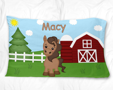 On the Farm Horse Pillow Case